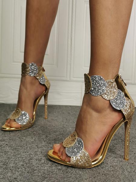 Milanoo Women\s Sandals Stiletto Heel Sandals Sequins Chic Pointed Toe Sandals