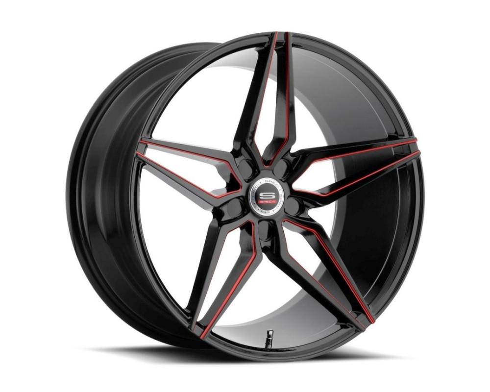 Spec-1 SPM-81 Wheel Monospec Series 20x9 5x112 32mm Gloss Black w/ Red Line