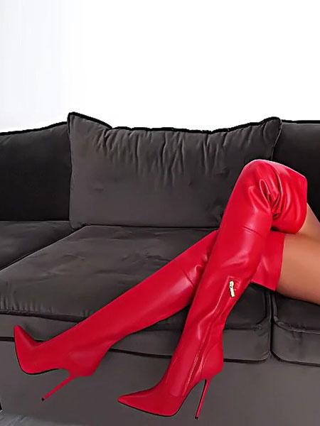 Milanoo Botas Rojas Altas De Muslo 2020 Botas puntiagudas de tacon alto sobre la rodilla sexy para mujeres