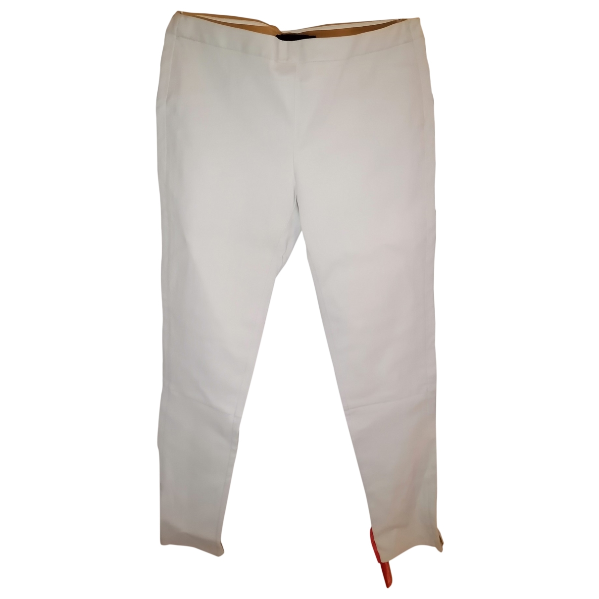 Calvin Klein Collection \N White Leather Trousers for Women 44 IT