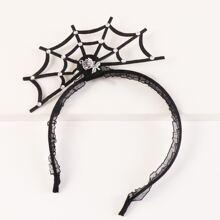 Haarreif mit Halloween Spinnennetz Dekor