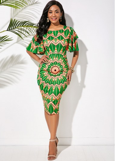 Cocktail Party Dress Round Neck Butterfly Sleeve Tribal Print Dress - L