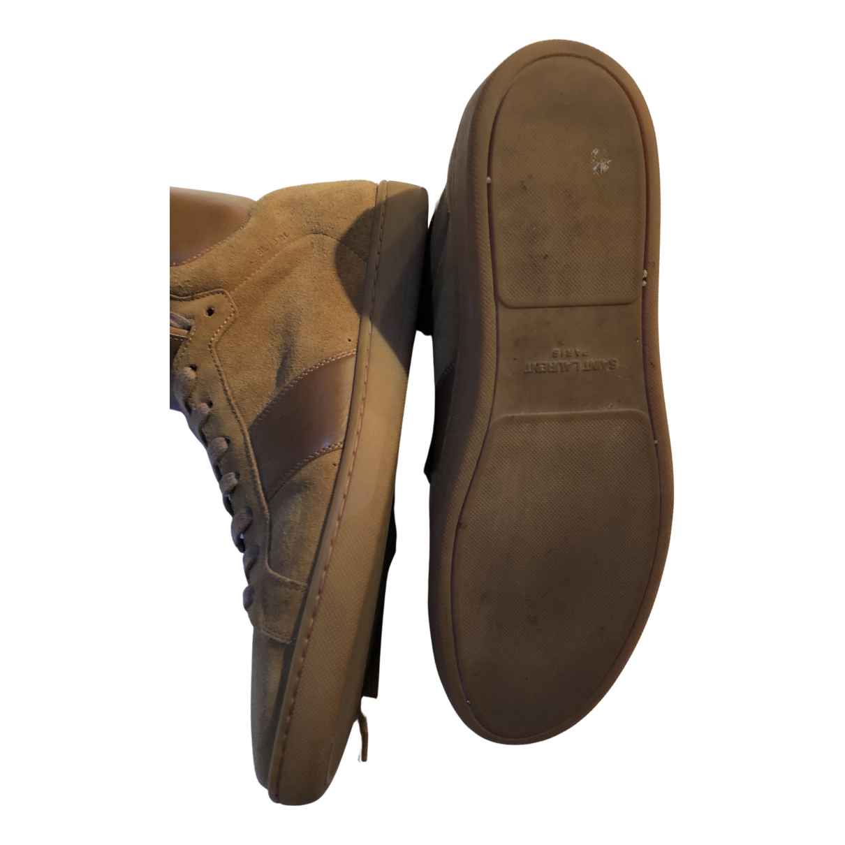 Saint Laurent \N Sneakers in  Khaki Veloursleder