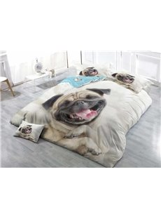 Pug Dog Wear-resistant Breathable High Quality 60s Cotton 4-Piece 3D Bedding Sets