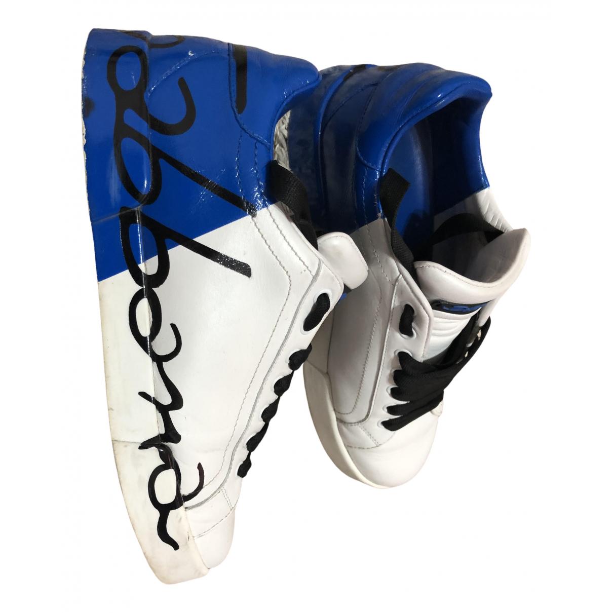 Dolce & Gabbana Portofino Blue Leather Trainers for Men 40.5 EU