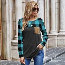 T-Shirt mit Kontrast Karo Muster und Taschen Flicken