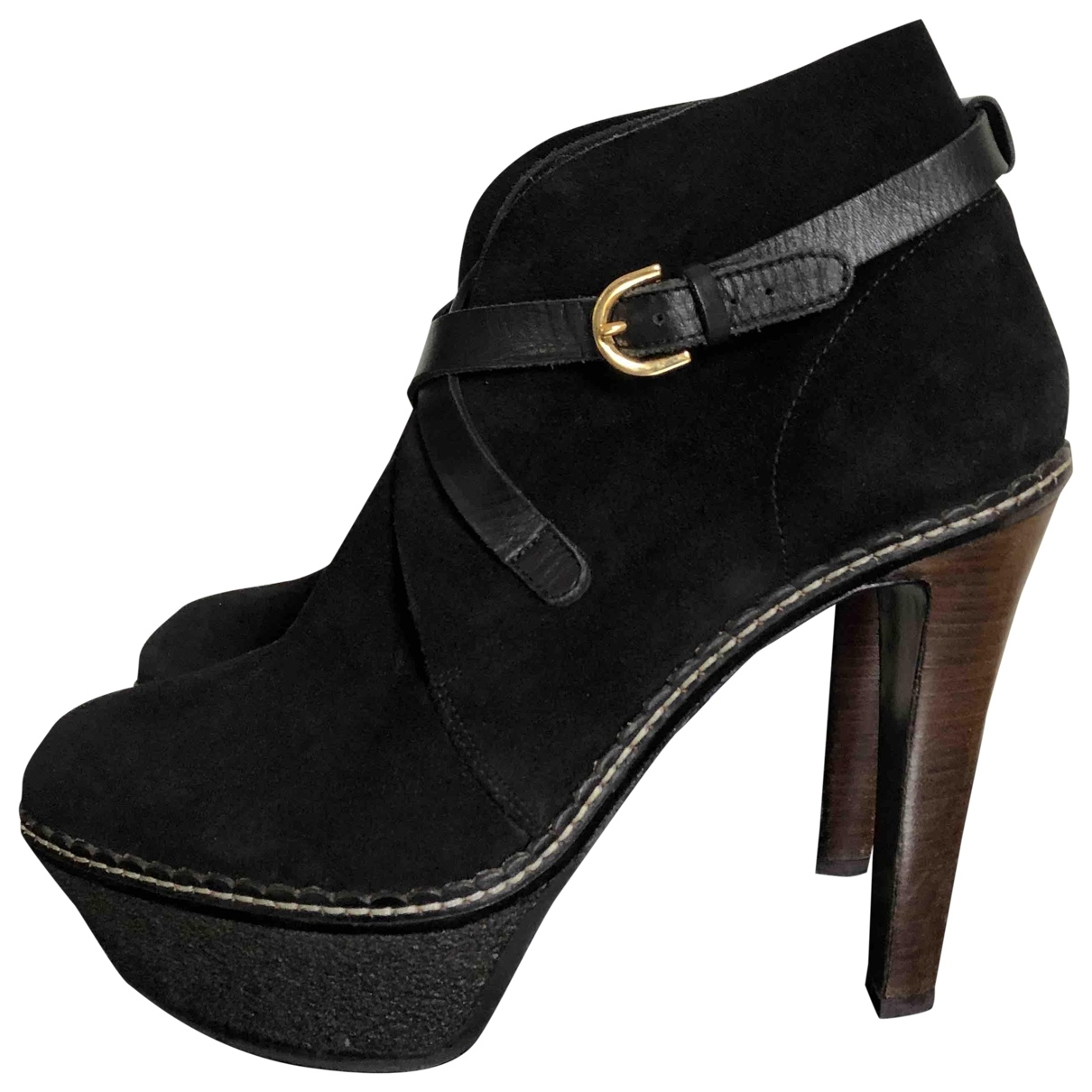 Sergio Rossi \N Black Suede Ankle boots for Women 39 EU
