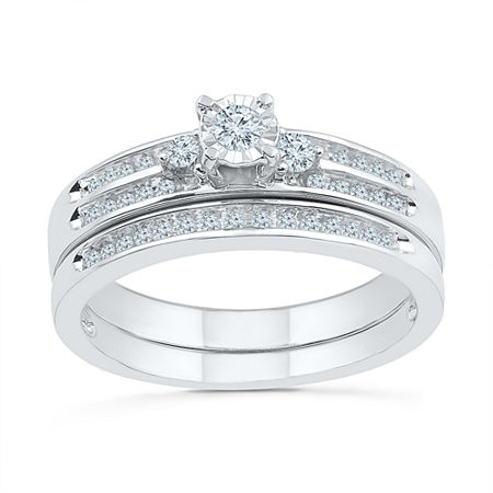 Womens 1/3 CT. T.W. Genuine White Diamond Sterling Silver Bridal Set, 9 , No Color Family