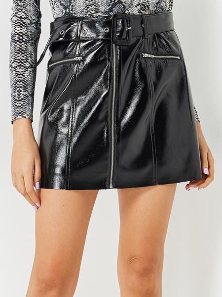 Yoins Black Zip Design PU Skirt with Belt