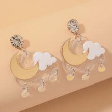 Moon & Cloud Charm Drop Earrings