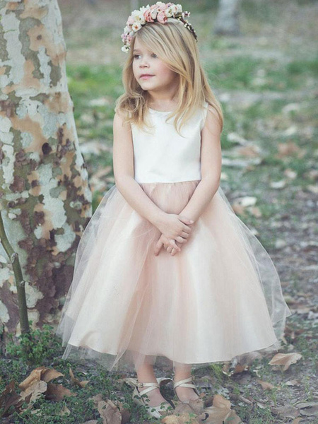 Milanoo Flower Girl Dresses Champagne Jewel Neck Sleeveless Formal Kids Pageant Dresses