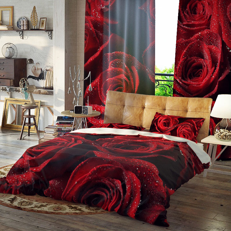 Rose Bunch Three-Piece Set Duvet Cover Set Reactive Printing Polyester Bedding Sets Colorfast Wear-resistant