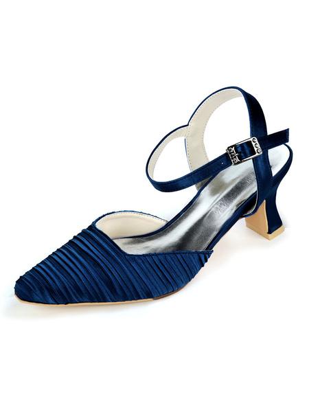 Milanoo Wedding Shoes White Satin Buckle Square Toe Chunky Heel Bridal Shoes