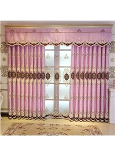 Fancy and Elegant Embroidered 2 Panels Custom Living Room Bedroom Pink Grommet Curtain