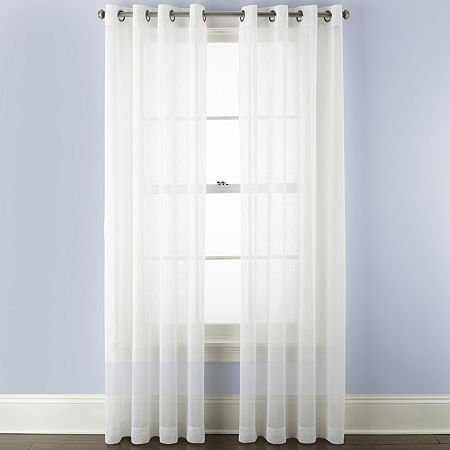 Linden Street Brooke Sheer Grommet-Top Single Curtain Panel, One Size , White