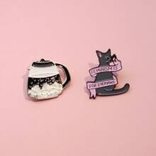 2 Stuecke Brosche mit Katze Design