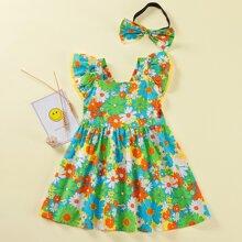 Toddler Girls Daisy Floral Ruffle Cuff Babydoll Dress With Headband
