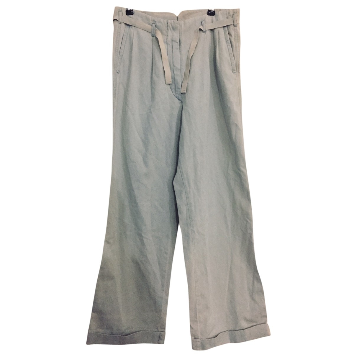 Mm6 \N Blue Cotton Trousers for Women 42 IT