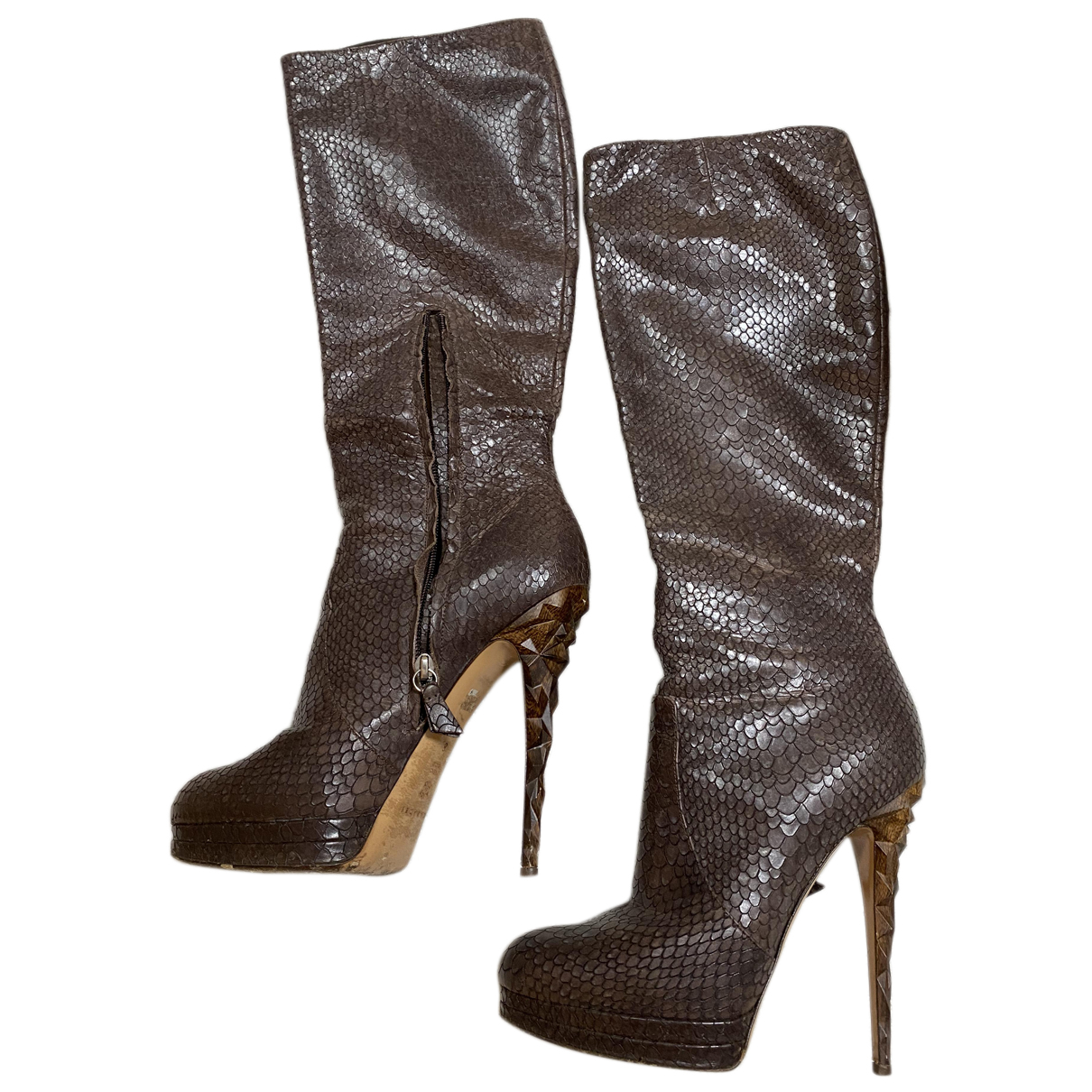 Casadei N Brown Leather Boots for Women 38 EU