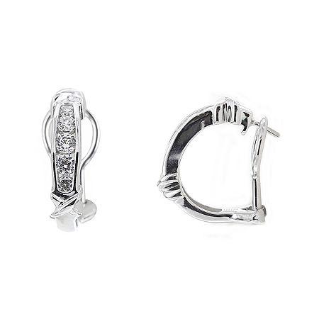 DiamonArt Cubic Zirconia Sterling Silver X Huggie Hoop Earrings, One Size , No Color Family