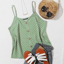 Buttoned Front Polka Dot Cami Top