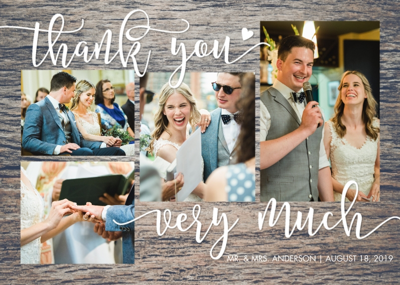 Wedding Thank You 5x7 Folded Cards, Premium Cardstock 120lb, Card & Stationery -Thank You Woodgrain Folded