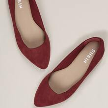 Wide Fit Faux Suede Pointy Toe Ballet Flats