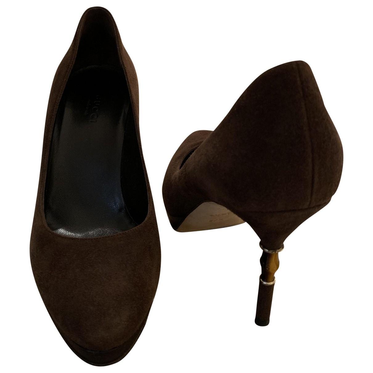 Gucci - Escarpins   pour femme en suede - marron