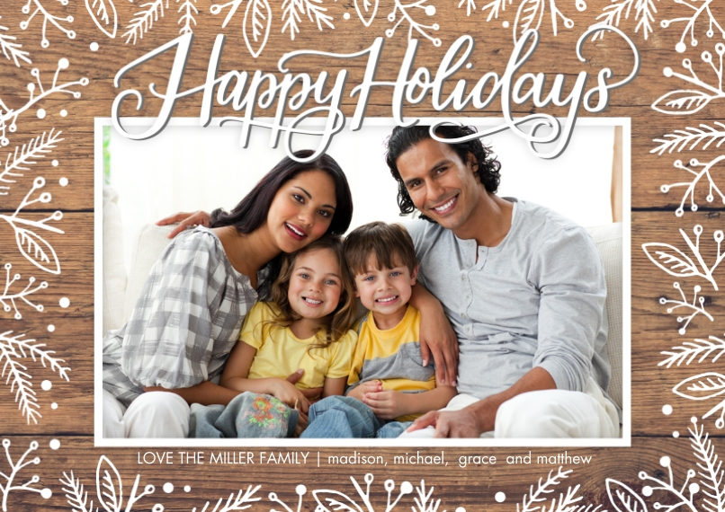 Holiday Photo Cards 5x7 Cards, Standard Cardstock 85lb, Card & Stationery -Holiday Foliage Overlay by Tumbalina