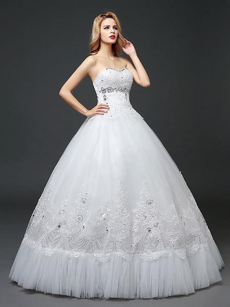 Milanoo Vestidos de novia de la princesa sin tirantes de encaje de encaje de lentejuelas de longitud de saten Ivory nupcial vestido de novia
