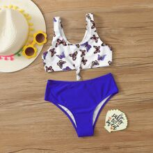 Girls Butterfly Print Knot Front Bikini Swimsuit