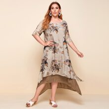 Plus Floral Print 2 In 1 High Low Tunic Dress