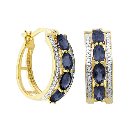Classic Treasures Genuine Sapphire and Diamond-Accent Hoop Earrings, One Size , No Color Family