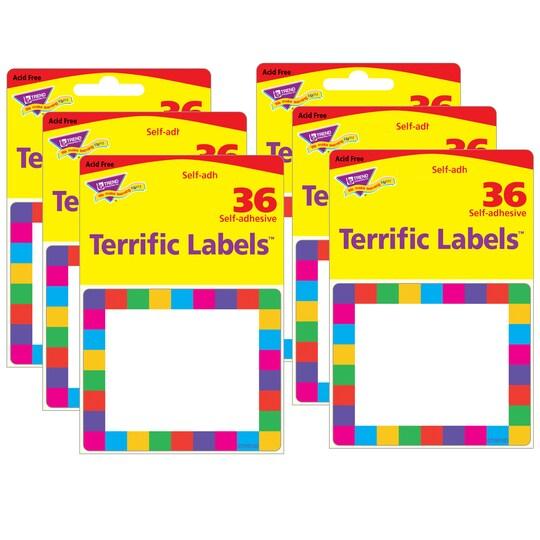 Trend Enterprises® Rainbow Plaid Terrific Labels™, 6 Packs Of 36 | Michaels®