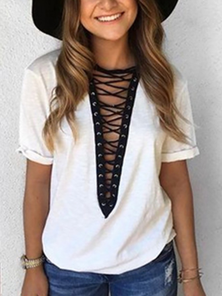 Yoins White Deep V-neck Lace-up Front T-shirts