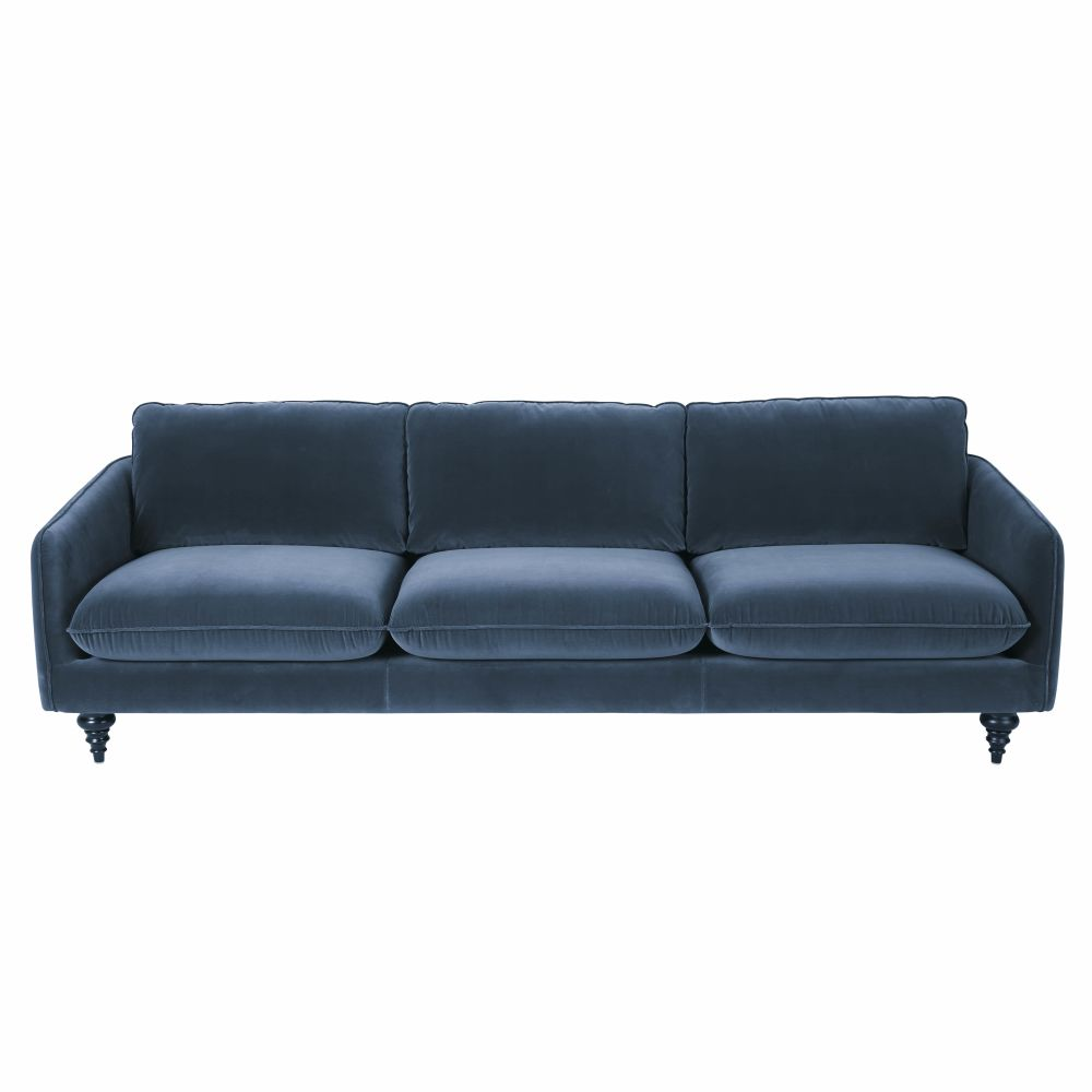 4-Sitzer-Sofa mit blauem Samtbezug Nour