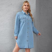 Denim Hemdkleid mit gebogenem Saum