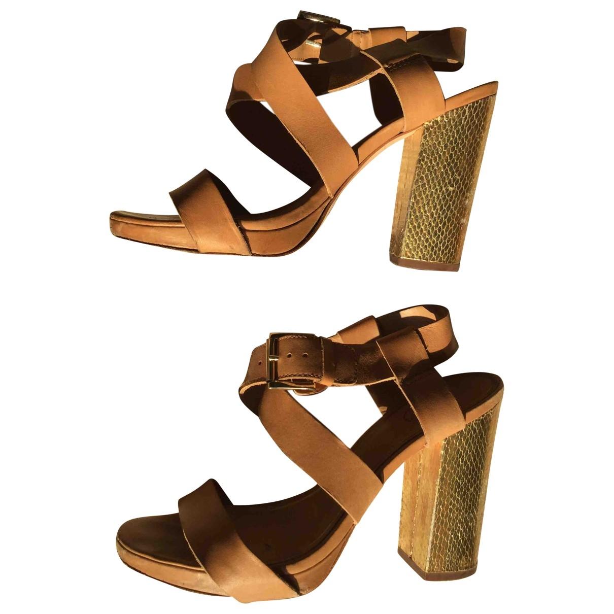 Ash \N Beige Leather Sandals for Women 38 EU