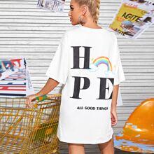 Drop Shoulder Rainbow & Letter Print Tee Dress