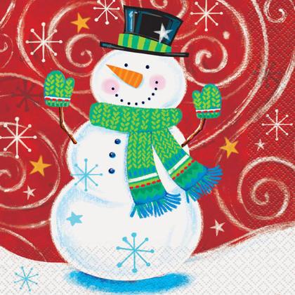 Serviettes de déjeuner tourbillon bonhomme de neige pour la décoration intérieure, 16ct