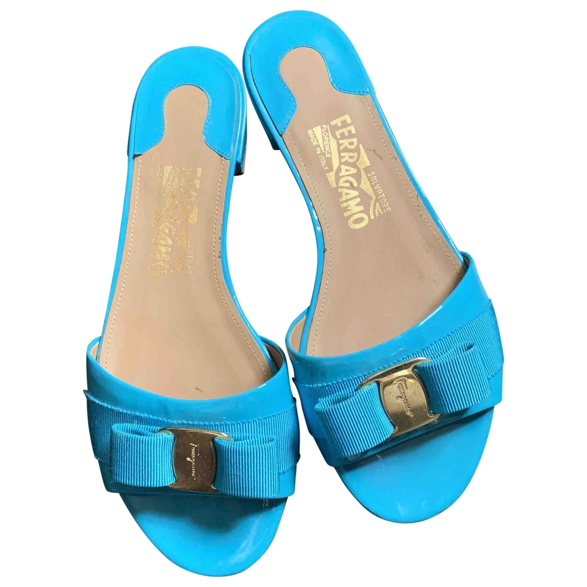 Salvatore Ferragamo \N Turquoise Patent leather Sandals for Women 7.5 US