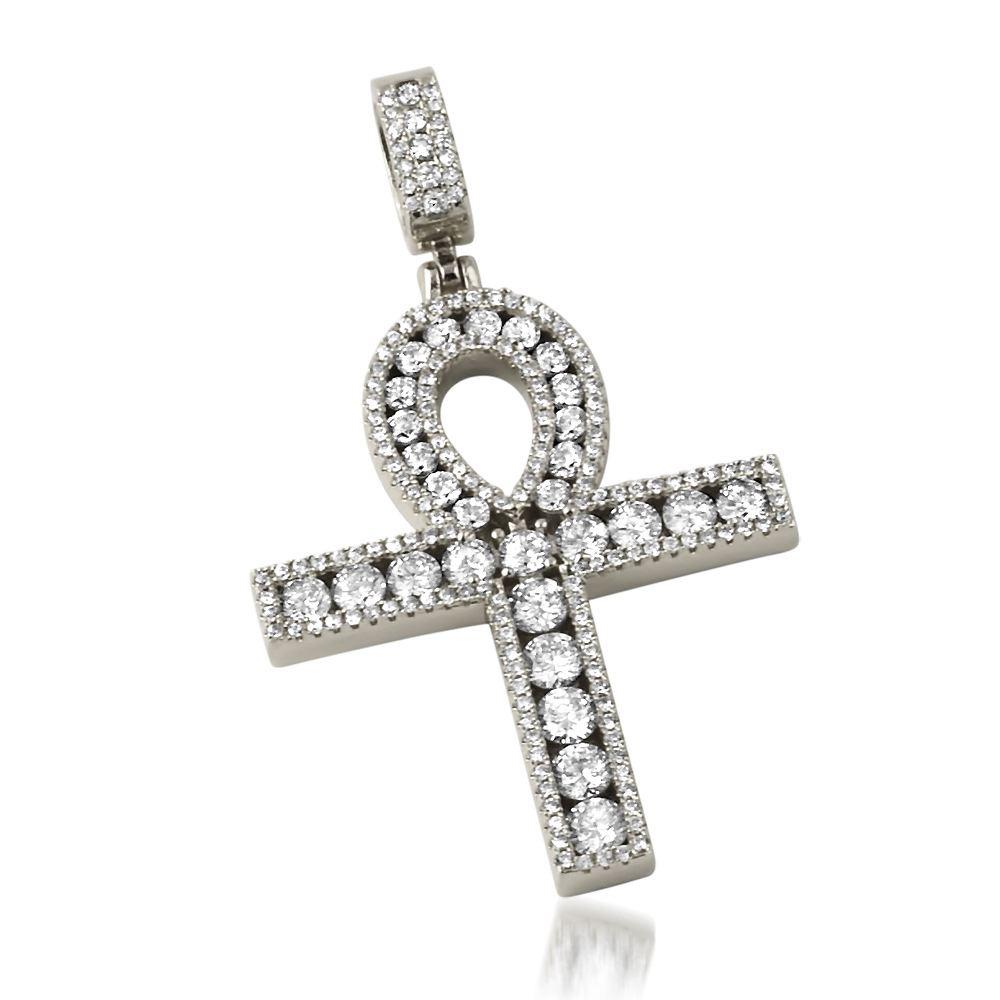 .925 Silver Channel Set Ankh Bling Bling Cross Rhodium