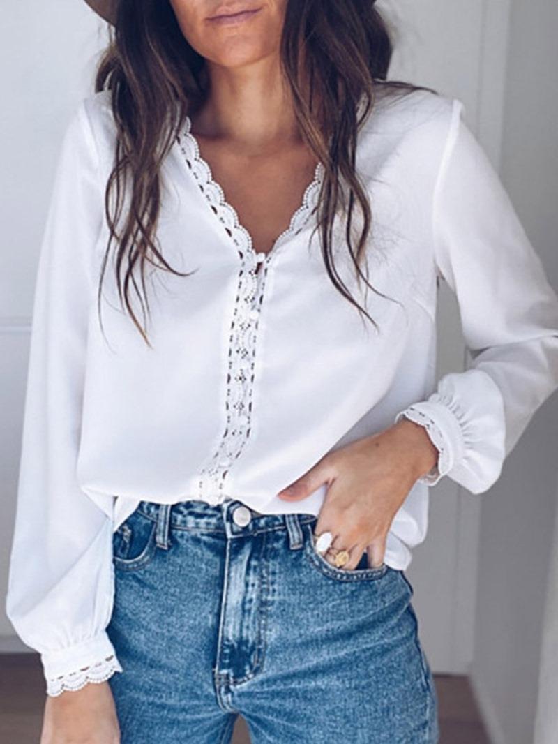 Ericdress Plain Lace V-Neck Long Sleeve Standard Blouse