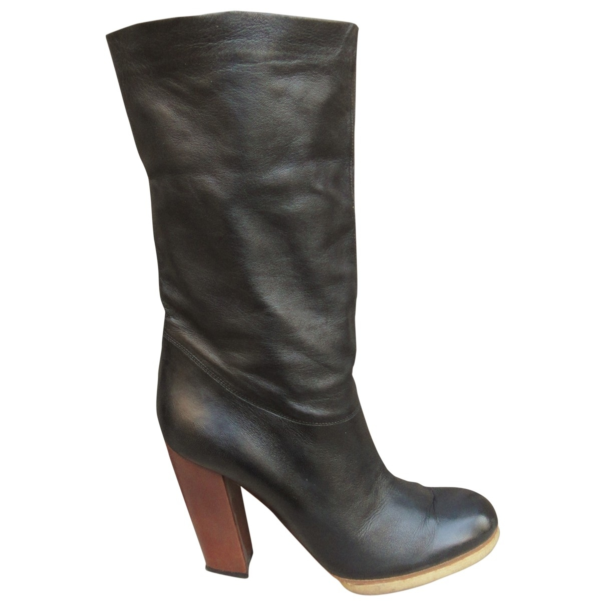 Lanvin \N Black Leather Boots for Women 38.5 EU