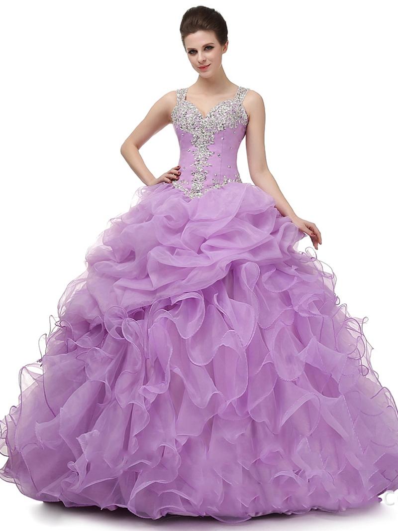 Ericdress Straps Ball Gown Appliques Beading Floor-Length Quinceanera Dress