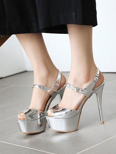 Milanoo Sandalias de tacon alto Zapatos de punta plateados de cuero de PU de plata Zapatos atractivos