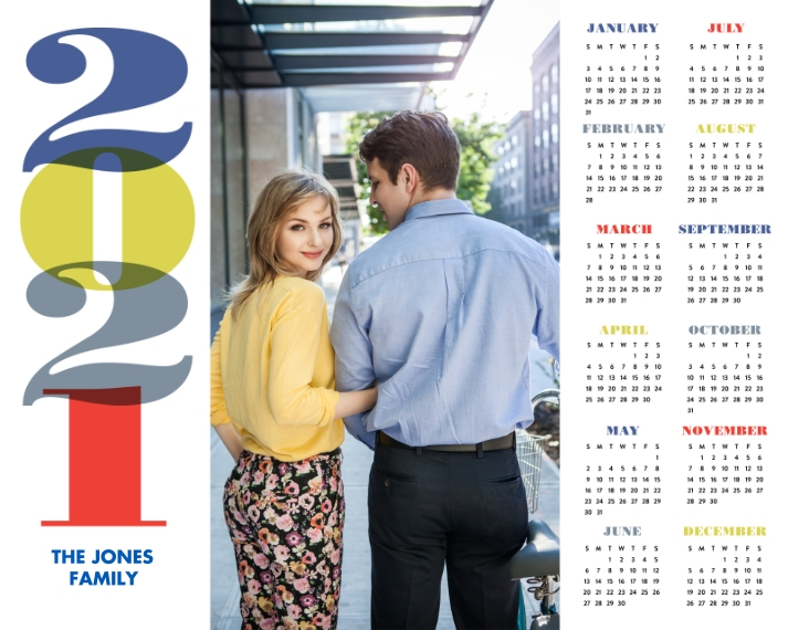 Calendar 16x20 Adhesive Poster, Home Décor -A Bold New Year