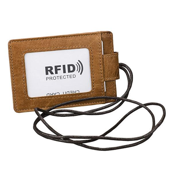 RFID Genuine Leather 4 Card Slot Neck Bag Solid Vintage Purse