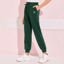 Girls Bow Waist Geo Print Sweatpants