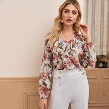 Chiffon Bluse mit Blumen Muster und Rueschen